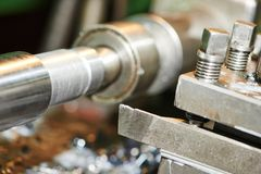 Metal machining by turning on lathe Stock Image