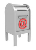 Metal mail box with e-mail sign. 3d royalty free illustration