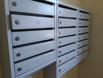 Metal Mail Boxes with Locks stock photos