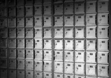 Metal mail boxes. Black and white background royalty free stock photos
