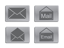 Metal mail icons. Set of metal effect mail icons Stock Photo