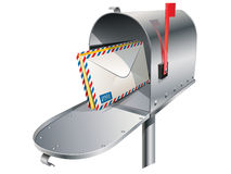 Metal mailbox. With envelopes in vector royalty free illustration