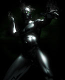 Metal Man. A A super hero made of metal posing in an action mood with glowing eyes Stock Photo