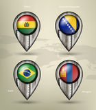 Metal map marker steel with glare and shadows Royalty Free Stock Photography