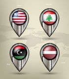 Metal map marker steel with glare and shadows Royalty Free Stock Photo