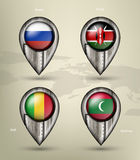 Metal map marker steel with glare and shadows Royalty Free Stock Image