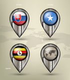 Metal map marker steel with glare and shadows Royalty Free Stock Images