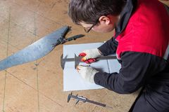 Metal marking, locksmith marks a sheet of metal royalty free stock photos