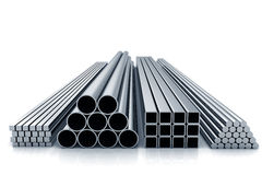 Metal materials. Rolling metal of stacks. Front stock image