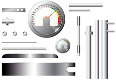 Metal measuring elements and pipes - set - vector Stock Image