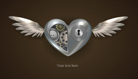 Metal mechanical heart Royalty Free Stock Image