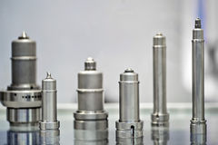 Metal mechanical parts. Metal mechanical industrial parts exhibited Stock Photo
