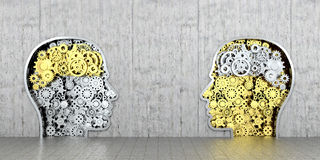 Metal mechanism as human profiles embedded. In the wall.3D illustration vector illustration