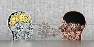 Metal mechanism as human profiles embedded. In the wall.3D illustration Royalty Free Stock Image