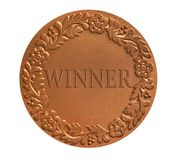 Metal medal for awarding. Medal with ornament for awarding the winner as success achievement concept Stock Photo
