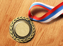 Metal medal with tricolor ribbon Royalty Free Stock Photo