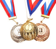 Metal medal with tricolor ribbon Royalty Free Stock Image