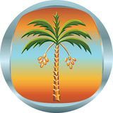 Metal medallion with the date palm Royalty Free Stock Photos