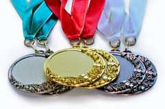 Metal medals for the first second and third place Stock Image