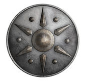 Metal medieval round shield isolated on white 3d illustration Royalty Free Stock Photo