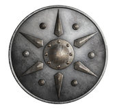 Metal medieval round shield isolated on white 3d illustration royalty free illustration