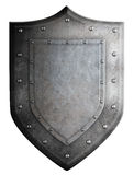Metal medieval shield or crest isolated Stock Photos