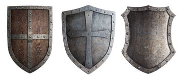 Metal medieval shields set isolated Stock Images