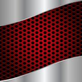 Abstract Shiny Brushed Steel on Red Metal Mesh Background vector illustration