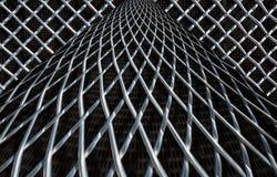 Metal mesh or aluminum grid on black background. Metal mesh or aluminum grid with regular pattern on black background stock image