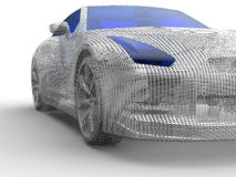 Metal mesh car illustration. 3D render illustration of a metal mesh car. The composition is isolated on a white background with shadows Royalty Free Stock Photography