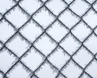 Metal mesh cells are covered with white Royalty Free Stock Photo