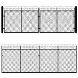 Metal Mesh Gate. Fence and gate made of metal wire mesh on white background Stock Photo