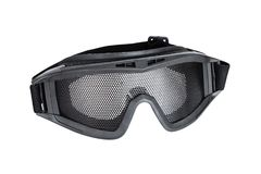 Metal mesh goggle. For airsoft gun safety isolated on white stock images