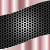 Abstract Shiny Brushed Pink Metal on Gray Metal Mesh Background stock illustration