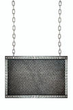 Metal mesh Seamless signboard hanging on chains isolated Stock Photography