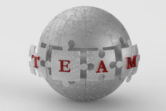 Metal mesh team puzzle globe. Metal chain puzzle globe isolated on a white background Royalty Free Stock Images