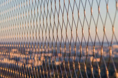 Metal mesh wire fence closeup Royalty Free Stock Photography