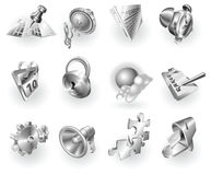 Metal metallic web and application icon set Royalty Free Stock Image