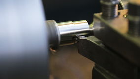 Metal milling machine. Turning lathe in action.Facing operation of a metal blank on turning machine with cutting tool.Old turning lathe machine in turning stock video