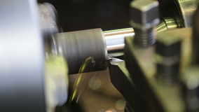 Metal milling machine. Turning lathe in action.Facing operation of a metal blank on turning machine with cutting tool.Old turning lathe machine in turning stock footage