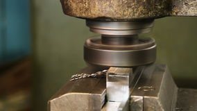 Metal milling machine. Turning lathe in action.Facing operation of a metal blank on turning machine with cutting tool.Old turning lathe machine in turning stock video footage