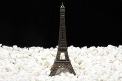 Metal model of Eiffel tower isolated on white and black royalty free stock image