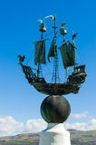 Metal model of a galleon. In Portmeirion village inspared by Italian architecture. North Wales, United Kingdom stock photo