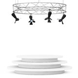 Metal Modern Stage Spotlight Construction with Podium. 3d Render Stock Photo