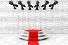 Metal Modern Stage Spotlight Construction with Red Carpet to Pod Royalty Free Stock Photo