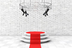 Metal Modern Stage Spotlight Construction with Red Carpet to Pod Stock Photo