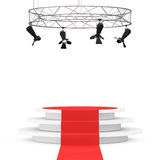 Metal Modern Stage Spotlight Construction with Red Carpet to Pod Stock Image