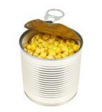 Metal może foluje kukurydzani nasiona odizolowywający Zdjęcia Stock