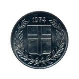 Metal moneta dziesięć Eire Iceland Moneta odizolowywająca na białym tle O Zdjęcie Royalty Free