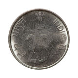 Metal monety dwadzieścia pięć paise India odizolowywający na białym tle Zdjęcia Stock